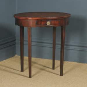 Antique English Georgian Regency Oval Flame Mahogany Occasional Hall / Side Table (Circa 1810) - yolagray.com