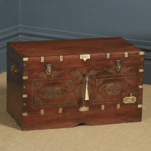 Large Antique Anglo-Burmese Victorian Colonial Campaign Teak & Brass Mandalay Dowry Chest / Trunk (Circa 1880) - yolagray.com