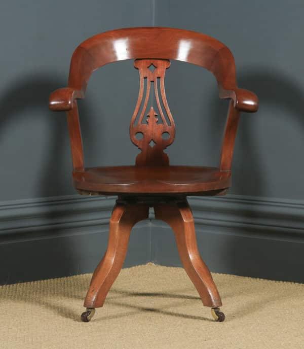 Antique English Victorian Mahogany Revolving Office Desk Arm Chair (Circa 1870) - yolagray.com