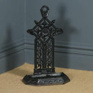Antique English Victorian Cast Iron Painted Stick & Umbrella Hall Stand (Circa 1890) - yolagray.com