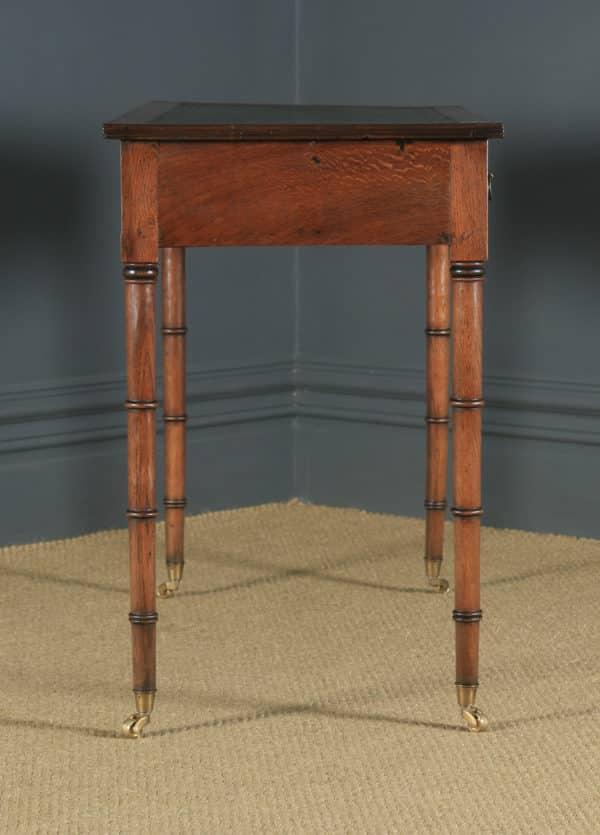 Antique English Regency Style Edwardian Oak & Green Leather Occasional Side Hall Writing Table Desk (Circa 1910) - yolagray.com