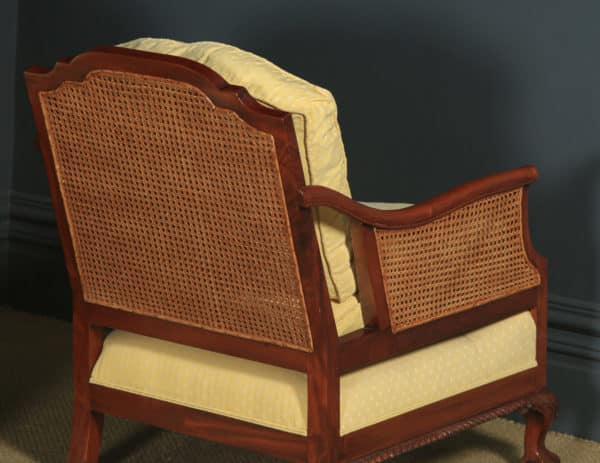 Antique English George V Chippendale Style Three Piece Mahogany & Cane Bergere Couch Settee Sofa Lounge Suite (Circa 1930) - yolagray.com