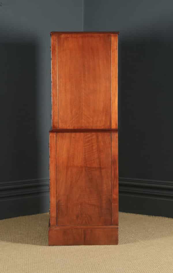 Vintage English 18th Century Style Figured Walnut Tallboy Chest on Chest by Cameo (Circa 1950) - yolagray.com