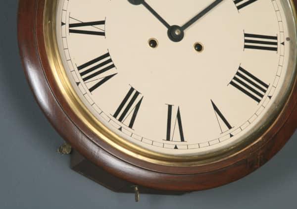 "Antique 15"" Mahogany Smiths Enfield Railway Station / School Wall Clock (Chiming) - yolagray.com"