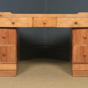Antique English Art Deco Burr & Figured Walnut Office Pedestal Desk (Circa 1940) - yolagray.com
