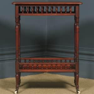 Antique English Victorian Mahogany Occasional Two-Tier Side Table (Circa 1890) - yolagray.com