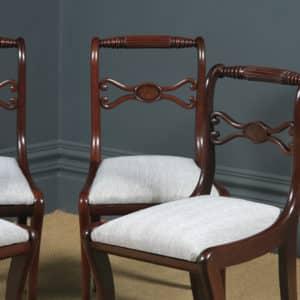 Antique English Georgian Regency Set of Four 4 Mahogany Rope Twist Dining Chairs (Circa 1820) - yolagray.com