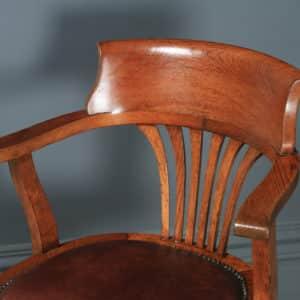 Antique English Edwardian Oak & Brown Leather Revolving Office Desk Arm Chair (Circa 1910) - yolagray.com