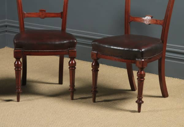 Antique English Victorian Set of Four 4 Victorian Mahogany & Burgundy Leather Shell Carved Dining Chairs (Circa 1880) - yolagray.com
