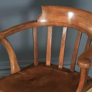 Antique English Edwardian Beech, Birch & Elm Revolving Office Desk Arm Chair (Circa 1910) - yolagray.com