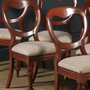 Antique English Victorian Set of 12 Twelve Mahogany Balloon Back Dining Chairs (Circa 1860) - yolagray.com