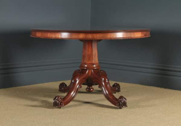 Antique English Victorian Mahogany Tilt Top Oval Dining Breakfast Loo Centre Table (Circa 1860) - yolagray.com