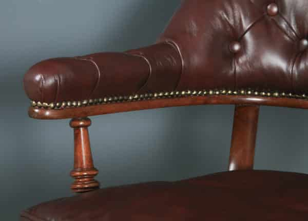 Antique English Victorian Mahogany & Brown Leather Office Desk Arm Chair (Circa 1880) - yolagray.com