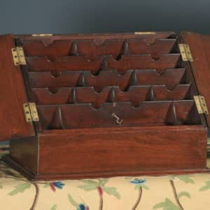 Antique Anglo-Indian Victorian Campaign Teak Waterfall Stationery Writing Box / Letter Rack (Circa 1880) - yolagray.com
