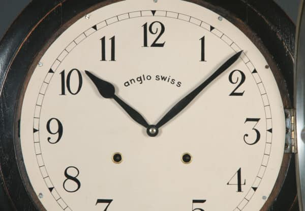 """Antique 16"""" Mahogany Anglo Swiss Railway Station / School Round Dial Wall Clock (Chiming) - yolagray.com"""