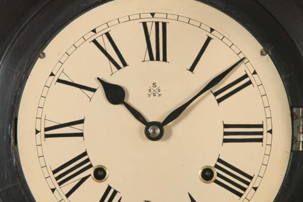 "Antique 12"" Japanese Welaiti Mahogany Railway Station / School Round Dial Wall Clock (Chiming) - yolagray.com"
