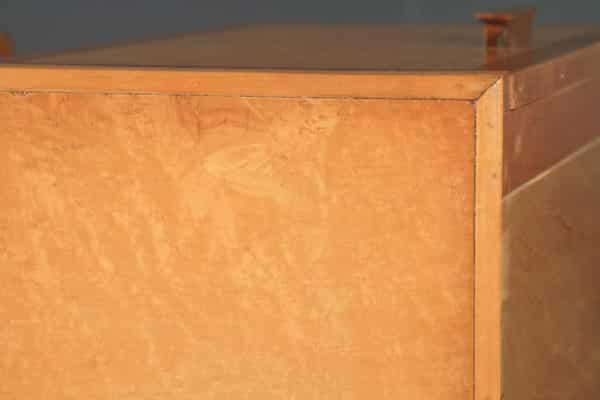 Antique English Pair of Art Deco Birds Eye Maple & Walnut Bedside Cupboards Tables Nightstands (Circa 1930) - yolagray.com