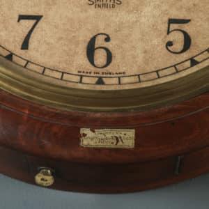 Antique 15″ Mahogany Smiths Enfield Limton Railway Station / School Round Dial Wall Clock (Timepiece) - yolagray.com