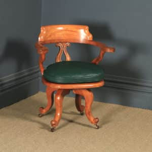 Antique English Victorian Birch & Green Leather Revolving Office Desk Arm Chair (Circa 1880) - yolagray.com