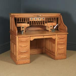 Large Antique English Edwardian 5ft Oak Roll Top Pedestal Office Writing Desk (Circa 1910) - yolagray.com