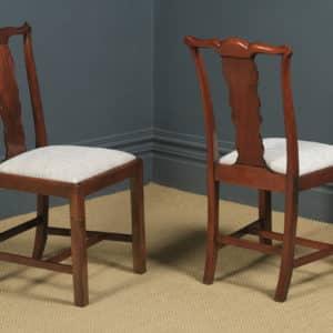 Antique English Set of Six 6 Georgian Style Victorian Mahogany Dining Chairs (Circa 1880) - yolagray.com
