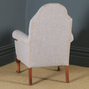 Antique English Queen Anne Style Grey Upholstered Beech Wing Arm Chair (Circa 1920) - yolagray.com