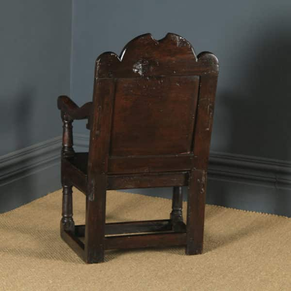 Antique English 17th Century Solid Oak Joined Wainscot Hall Arm Chair (Circa 1680) - yolagray.com