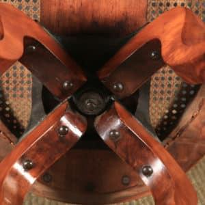 Antique English Victorian Birch & Green Leather Revolving Office Desk Arm Chair (Circa 1880) - yolagray.com