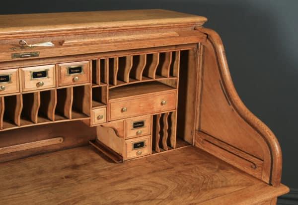 Large Antique English Edwardian 5ft Oak Roll Top Pedestal Office Writing Desk (Circa 1910) - yolagray.com