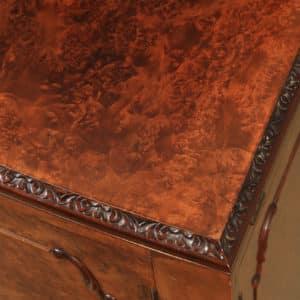 Antique English Art Deco Burr Walnut Folding Cocktail Bar Drinks Bow Front Cabinet (Circa 1930) - yolagray.com