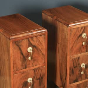 Antique Pair of English Art Deco Figured Walnut Bedside Chest Tables Nightstands (Circa 1930) - yolagray.com