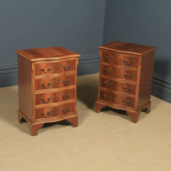 Pair of English Georgian Style Flame Mahogany Serpentine Bedside Chest of Drawers Tables / Nightstands (Circa 1980) - yolagray.com