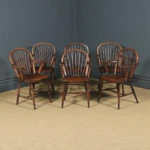 Antique English Set of Six 6 Victorian Ash & Elm Windsor Stick & Hoop Back Kitchen Dining Arm Chairs (Circa 1850) - yolagray.com