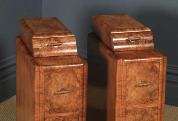 Antique English Pair of Art Deco Burr Walnut Bedside Chests Cabinets Tables Nightstands (Circa 1930) - yolagray.com