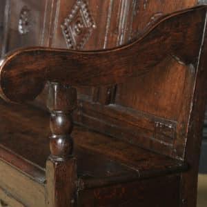 Small Antique English Georgian Carved Oak High Back Hall Bench Settle (Circa 1750) - yolagray.com