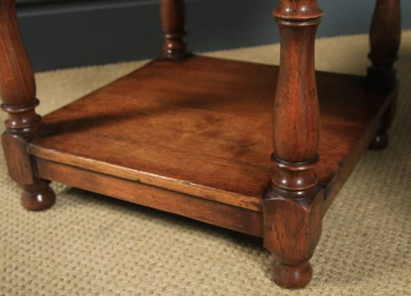Vintage Pair of English 17th Century Style Solid Oak Square Occasional Side / Lamp Tables (Circa 1980) - yolagray.com