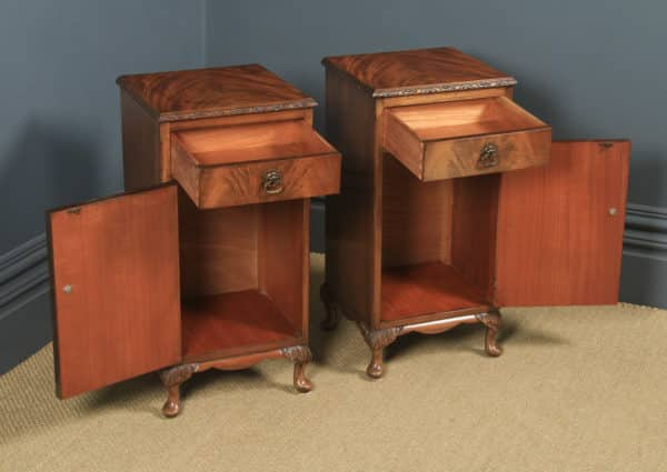 Antique Pair of English Queen Anne Style Flame Mahogany Bedside Cupboards Nightstands (Circa 1930) - yolagray.com