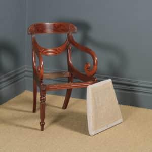 Antique English Georgian Regency Mahogany Trafalgar Open Office Desk / Dining Arm Chair (Circa 1820) - yolagray.com