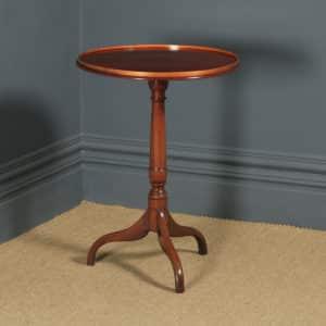 Small Antique English Georgian Mahogany Inlaid Tripod Circular Pedestal Wine Table (Circa 1810) - yolagray.com