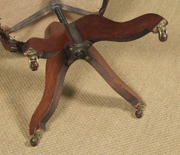 Antique English Victorian Mahogany & Oak Green Leather Revolving Office Desk Arm Chair (Circa 1890) - yolagray.com