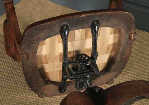 Antique English Edwardian Oak & Green Leather Revolving Office Desk Arm Chair (Circa 1910) - yolagray.com
