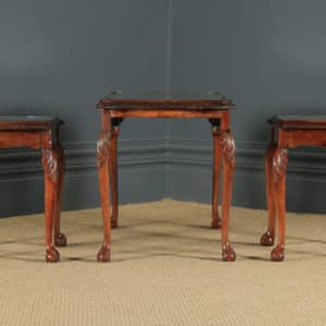 Antique English Queen Anne Style Nest of Three Carved Burr Walnut & Glass Coffee Tables (Circa 1920) - yolagray.com