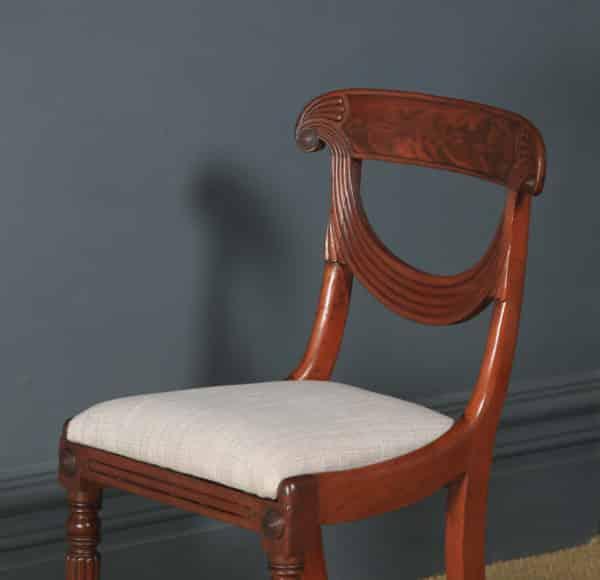 Antique English Georgian Regency Set of Four 4 Mahogany Trafalgar Dining Chairs (Circa 1820) - yolagray.com