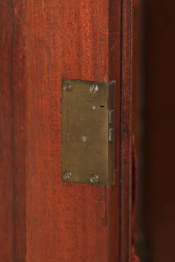 Antique English Victorian Flame Mahogany Four Door Sideboard Chiffonier Cabinet (Circa 1840) - yolagray.com