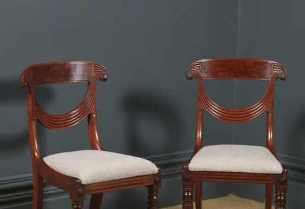Antique English Georgian Regency Set of Three 3 Mahogany Trafalgar Dining Chairs (Circa 1820) - yolagray.com