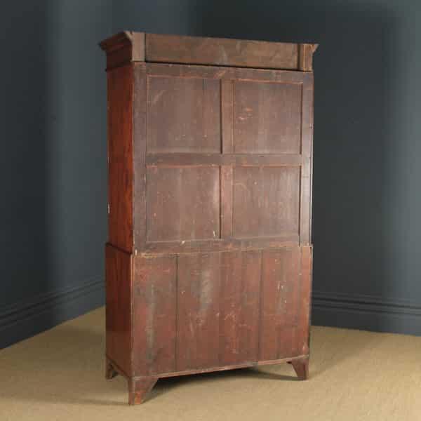 Antique English Georgian Regency Figured Mahogany Inlaid Linen Press Chest Wardrobe (Circa 1820) - yolagray.com