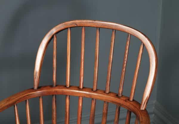 Antique English Single Victorian Ash & Elm Windsor Stick & Hoop Back Kitchen Dining Arm Chair (Circa 1840) - yolagray.com