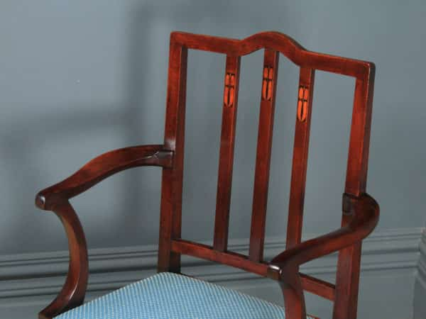 Antique English Victorian Arts & Crafts Mahogany Inlaid Open Office Desk / Dining / Occasional Arm Chair (Circa 1890) - yolagray.com