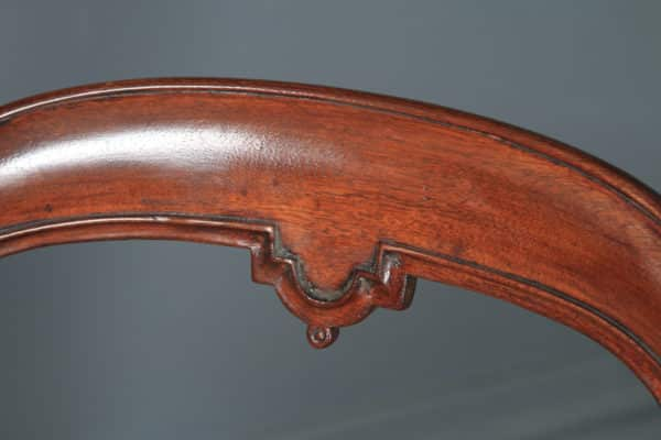 Antique English Victorian Mahogany Carved Balloon Back Occasional / Side / Office / Desk Chair (Circa 1860) - yolagray.com