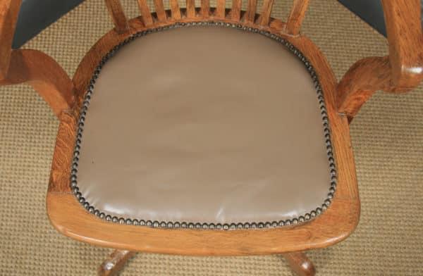Antique English Edwardian Oak & Tan Brown Leather Revolving Office Desk Arm Chair (Circa 1910) - yolagray.com